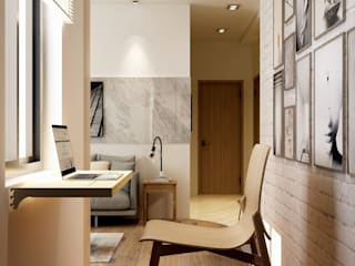 Coohom Minimalist study/office Wood effect