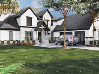 Diseño de casa de plano de planta 3D residencial moderno simple de 4 dormitorios por Architectural Rendering Company di Yantram Design Studio di architettura Moderno