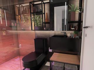 Banheiro Masculino DARK IEZ Design Banheiros industriais Cerâmica Preto