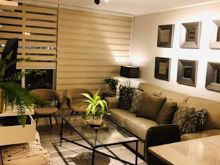 Vista general living con iluminacion Livings modernos: Ideas, imágenes y decoración de Oscar Saavedra Diseño y Decoración Spa Moderno