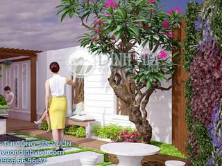 Thiết kế sân vườn biệt thự Anh Tiên tại khu du lịch Bến Xưa, Q.12 Nhà phong cách Bắc Âu bởi Sân Vườn Đỉnh Việt Bắc Âu