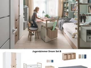 Jugendzimmer komplett Set weiß grau eiche modern: modern  von QMM TraumMoebel,Modern