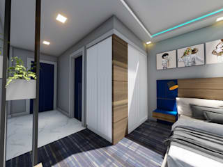 Bakü Otel odası Projesi Modern Yatak Odası Akay İç Mimarlık & Tasarım Modern