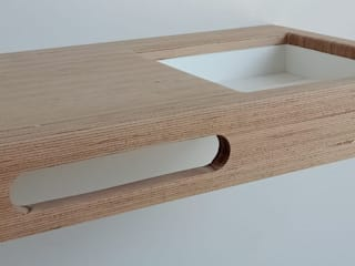 Vasque en Solid Surface & Bois #BAUBUCHE #SOLID SURFACE par PIERRE SOLIDE DESIGN Scandinave