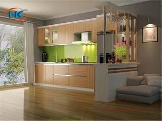 Hình ảnh thi công tủ bếp laminate an cường vân gỗ tự nhiên bởi Nội thất Nguyễn Kim
