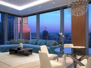 Capital Towers City Tower Гостиная в стиле минимализм от Архитектурная мастерская Александра Ордынцева Минимализм