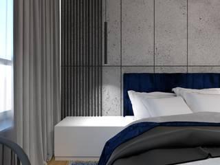 Sypialnia beton i granat Wkwadrat Architekt Wnętrz Toruń Małe sypialnie Beton Niebieski