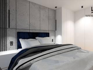 Sypialnia beton i granat Wkwadrat Architekt Wnętrz Toruń Małe sypialnie Beton Szary