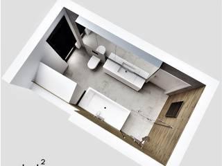 Główna łazienka w bliźniaku Wkwadrat Architekt Wnętrz Toruń Nowoczesna łazienka Beton Szary