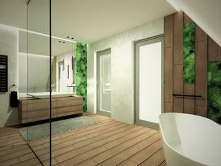 Łazienka na poddaszu WERSJA 3 Wkwadrat Architekt Wnętrz Toruń Rustykalna łazienka Płytki Biały