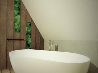 Łazienka na poddaszu WERSJA 3 Wkwadrat Architekt Wnętrz Toruń Rustykalna łazienka Drewno O efekcie drewna