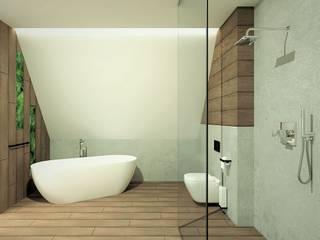 Łazienka na poddaszu WERSJA 3 Wkwadrat Architekt Wnętrz Toruń Nowoczesna łazienka Beton O efekcie drewna