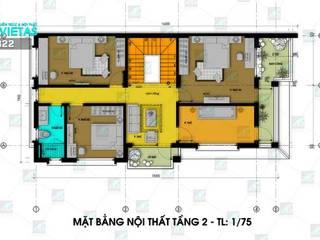 Vĩnh Phúc: Mẫu thiết kế biệt thự 2.5 tầng mái thái 7x20m 4 phòng ngủ bởi Công ty Cổ phần Kiến trúc và Nội thất VietAS