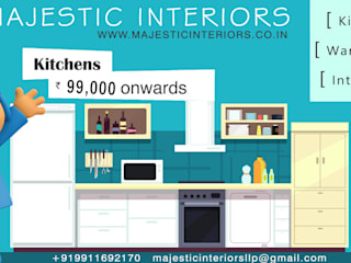 MODULAR KITCHEN DEALERS OR MANUFACTURERS IN FARIDABAD by MAJESTIC INTERIORS Asian