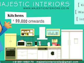 MODULAR KITCHEN DEALERS OR MANUFACTURERS IN FARIDABAD Asian style living room by MAJESTIC INTERIORS Asian