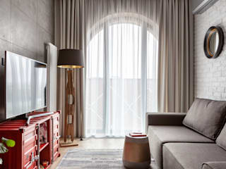 Квартира с красной дверью. ЖК ЗИЛАРТ Гостиная в стиле лофт от Carmine Home Лофт