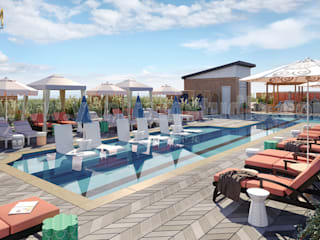 3D Exterior Rendering Services of Architectural Courtyard Pool View by 3D Animation Studios, Doha – Qatar de Yantram Architectural Design Studio Clásico