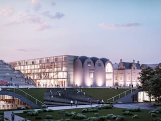 Biblioteca de la Universidad de Rostock Escuelas de estilo moderno de GilBartolome Architects Moderno