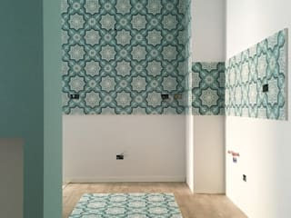 YANN Srl Built-in kitchens Concrete Turquoise
