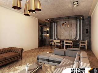 AYS Konut Tasarımı Kut İç Mimarlık Oturma OdasıKanepe & Koltuklar Deri Kahverengi