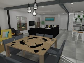Living Space Remodel of a Suburban Home Modern dining room by RooMoo Modern