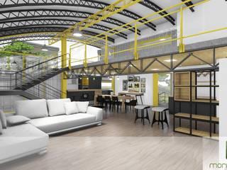 Edificação comercial e Residencial em container marítimo Salas de estar industriais por Moradaverde Arquitetura Ltda. Industrial