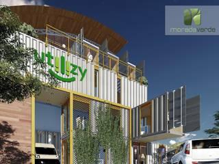 Edificação comercial e Residencial em container marítimo Casas industriais por Moradaverde Arquitetura Ltda. Industrial