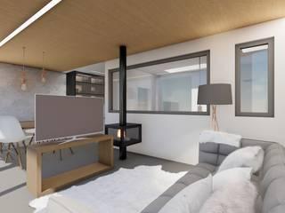 Barreres del Mundo Architects. Arquitectos e interioristas en Valencia. Modern living room Wood Brown