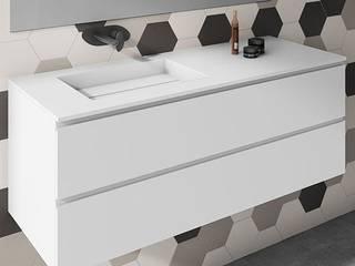 Mueble de MDF a Medida con 2 Cajones Superpuestos + 1 Lavabo de diseño Corian® M502 de BañosAutor Moderno