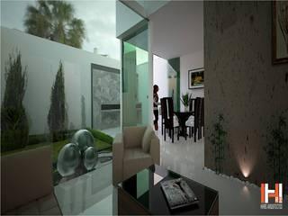 SALA CON ESPEJO DE AGUA Salones modernos de HHRG ARQUITECTOS Moderno