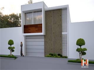 FACHADA DE CONTERA CON MADERA Casas modernas de HHRG ARQUITECTOS Moderno