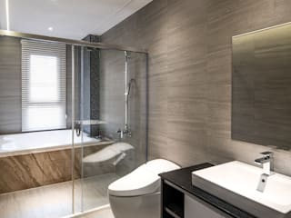 西螺董公館 現代浴室設計點子、靈感&圖片 根據 大漢創研室內裝修設計有限公司 現代風