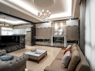 虎尾胡小姐 现代客厅設計點子、靈感 & 圖片 根據 大漢創研室內裝修設計有限公司 現代風