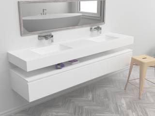 Lavabos de diseño a Medida en Corian® 2 Senos SQUARE de BañosAutor Moderno