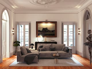 Eclectic style living room by UPFLAT Eclectic