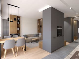 Projekt mieszkania w stylu nowoczesnym Nowoczesny salon od OKFORM Projektowanie wnętrz Nowoczesny