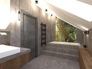 Projekt domu w stylu loft Industrialna łazienka od OKFORM Projektowanie wnętrz Industrialny