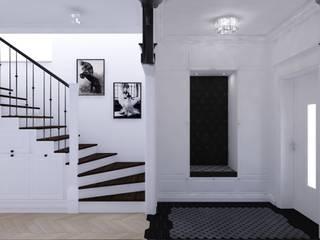 Projekt apartamentu w stylu nowojorskim Klasyczny korytarz, przedpokój i schody od OKFORM Projektowanie wnętrz Klasyczny