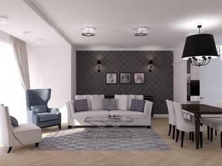 Projekt apartamentu w stylu nowojorskim Klasyczny salon od OKFORM Projektowanie wnętrz Klasyczny