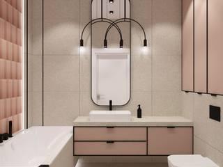 Łazienka w kolorach pudrowego różu , kremowego lastriko i czarnych dodatków Nowoczesna łazienka od OKFORM Projektowanie wnętrz Nowoczesny