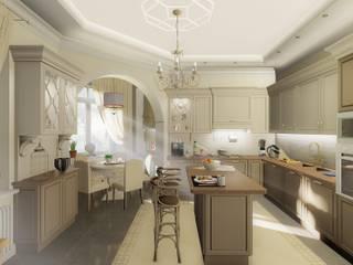 Загородный дом в пос. Папушево-интерьеры Кухни в эклектичном стиле от Архитектурная дизайн-студия СеНат Эклектичный