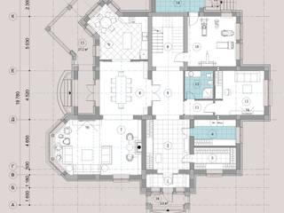 Загородный дом в пос. Папушево Стены и пол в эклектичном стиле от Архитектурная дизайн-студия СеНат Эклектичный