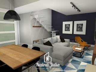 SALA NO ESTILO INDUSTRIAL CONTEMPORÂNEO por Nainá Julio - Designer de Interiores