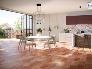 Rustico/Contemporaneo: Dimore Tuscania S.p.A. Sala da pranzo in stile classico Piastrelle