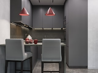 GM-interior Minimalist kitchen Grey
