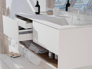 Mueble de MDF a Medida con 3 Cajones + 1 Lavabo desplazado de diseño Corian®506 de BañosAutor Moderno