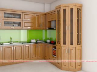 Mẫu tủ bếp nhỏ gỗ sồi nga - giải pháp cho căn bếp hẹp, không gian chật bởi Nội thất Nguyễn Kim
