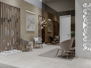 De Panache Salones de estilo moderno Vidrio Gris