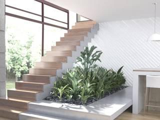 ДОМ 360 М2 В ЖК ВАТУТИНКИ (2016Г.) Коридор, прихожая и лестница в стиле минимализм от МосАрх.рф Минимализм