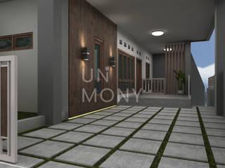 Konsep exterior dan bedroom set Balkon, Beranda & Teras Modern Oleh unimony.id Modern